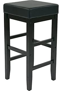 Office Star Metro Faux Leather Square Barstool With Espresso Legs, 30 Inch,  Black