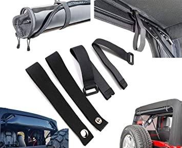 for Jeep Wrangle AUFER Rear Window Straps Replacements and Soft Top Sunrider Straps Black