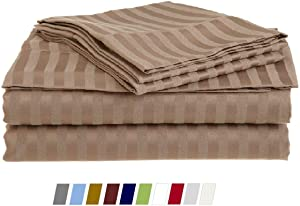 """4 Pieces Sheet Set for Bedding- 100% Cotton Sheet Set & 400 TC, Soft and Smooth Sheet Set, King Size Sheets, Taupe Stripe, Easy Fit 10"""" Inch Deep Pocket Bedding Sheets"""