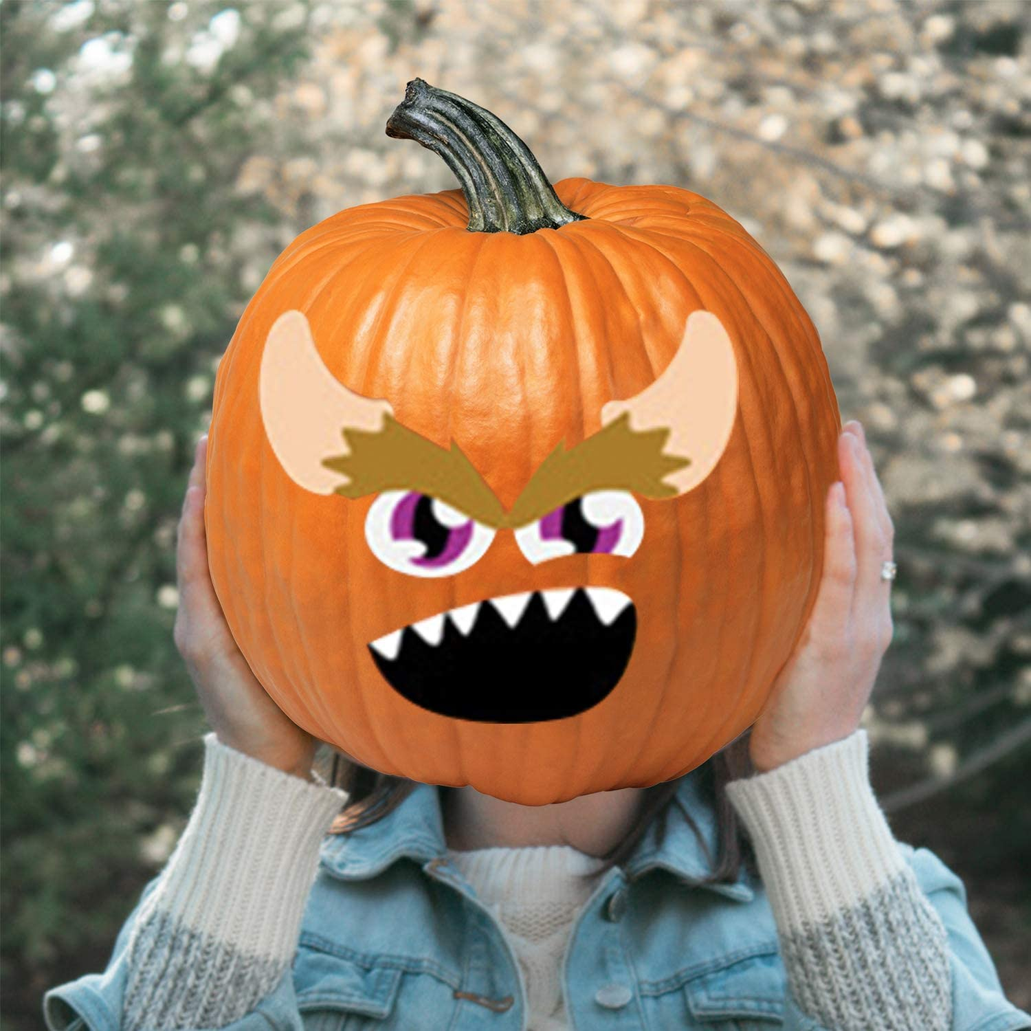 Halloween Pumpkin Stickers Coobbar 24 Pieces Funny and Classic Pumpkin Expressions Stickers for Pumpkins and Squashes,DIY Jack-O-Lantern Face Decals for Halloween Party Decoration
