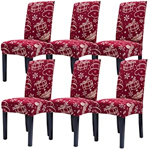 SUBCLUSTER 6 Pcs/Set Soft Stretchable Dining Chair Covers with Printed Floral Patterns,Spandex Banquet Chair Seat Protector Slipcovers for Holiday Home Party, Hotel, Wedding Ceremony (Style 10)