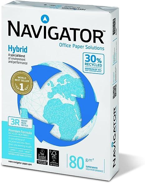 Navigator NHY0800018 - Paquete 500 hojas de papel A4, 80 gramos (1 unidad): Amazon.es: Oficina y papelería