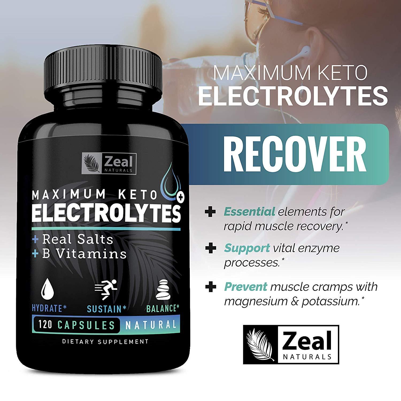 Keto Electrolyte Supplement (120 Capsules) Electrolyte Tablets w Real Sea  Salt, B Vitamins,