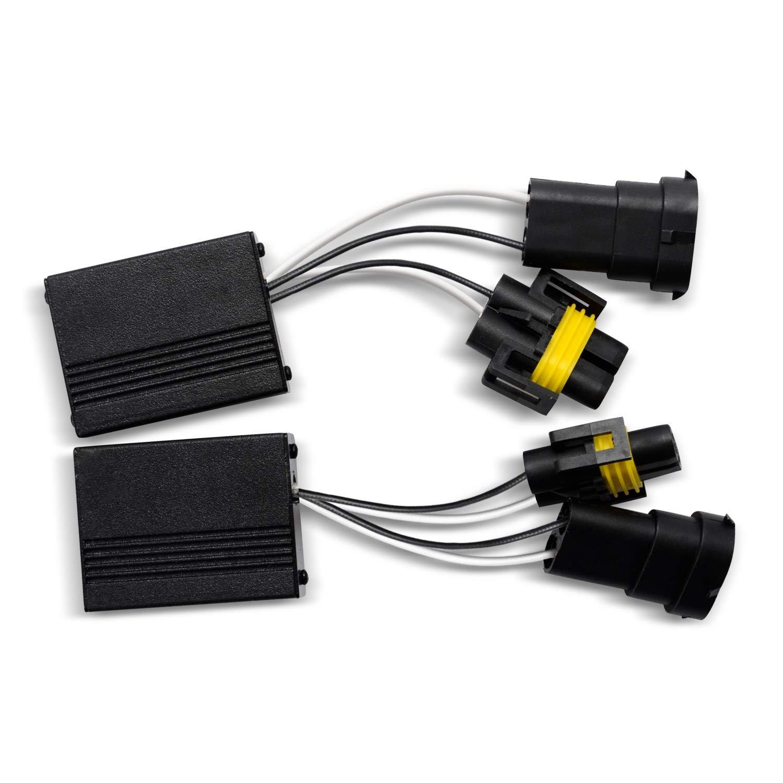 LED Headlight Decoder Can-BUS No Error Warning Canceller Anti-flicker Resistor Harness for 12V Car,2Pcs HB3//HB4//HIR2 Win Power 9005//9006//9012