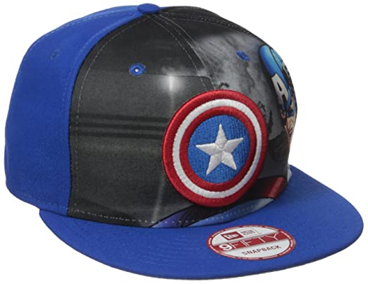 size 40 d6d98 c5c23 Marvel Men s Logo Fronted Captain America 9fifty Snapback, Multi, One Size
