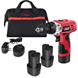 "12V Cordless Drill, Power Drill Set with 2 PACKS of Battery, 3/8"" Keyless Chuck, 2 Speed, 16 Position and LED Light, 22pcs Drill/Driver Bits Included, Masterworks MW306"