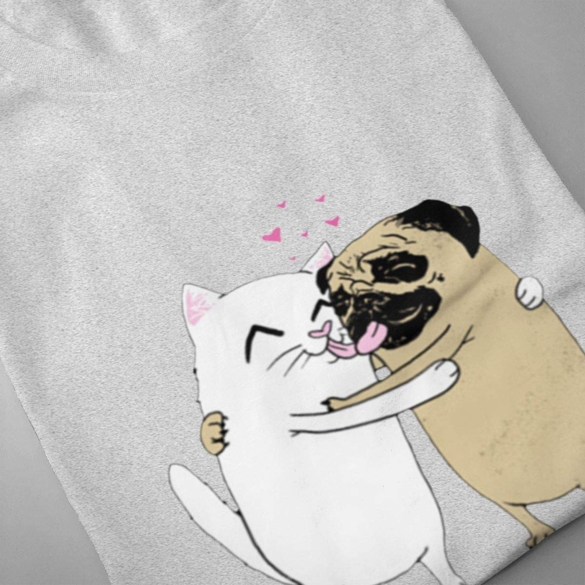 Luxendary Men Logo Harajuku Dogs and Cats Loves Funny Hiking Round Neck Short Sleeve T Shirt