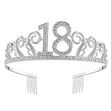Amazon.com: BABEYOND - Tiara de cristal para cumpleaños ...