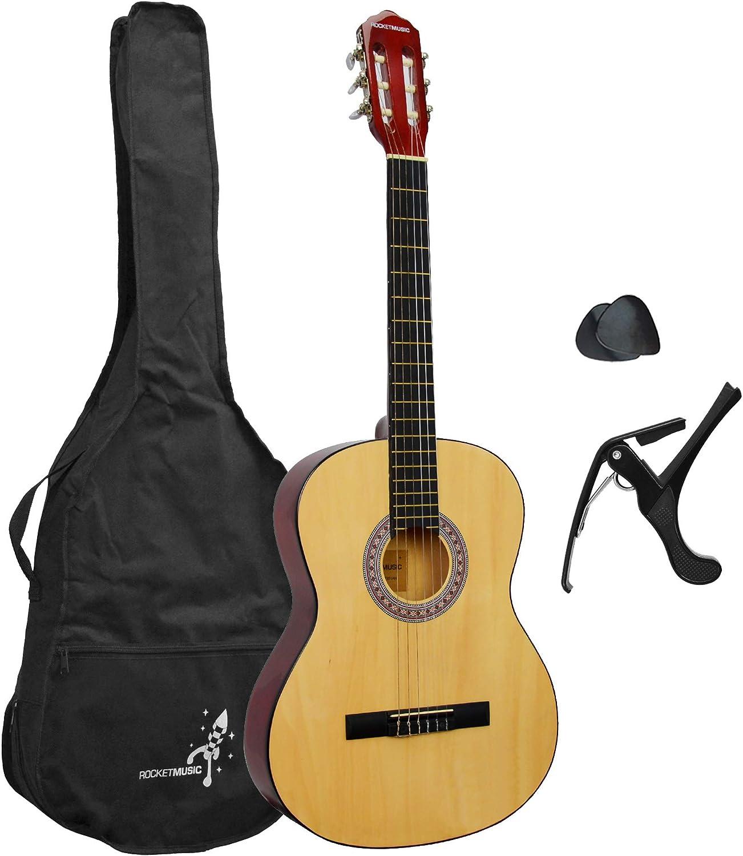 Rocket XF201AN XF Serie - Guitarra española clásica, color natural, tamaño completo 4/4