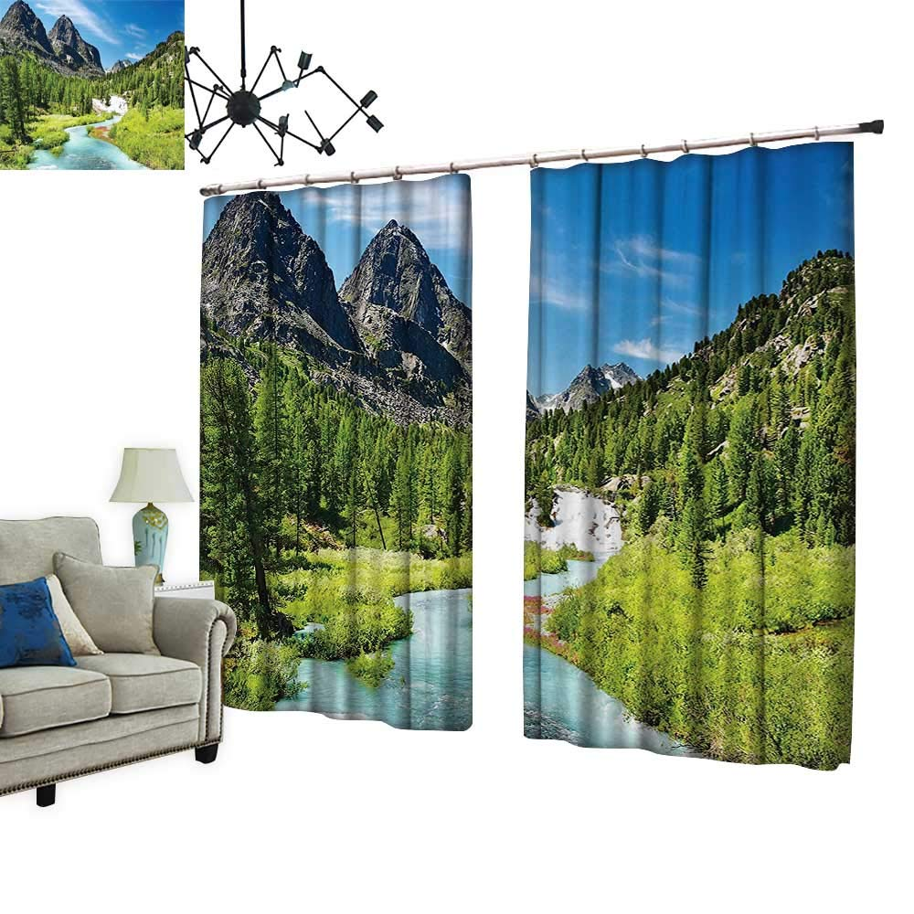 PRUNUS Thermal Insulated Drapes with hookForest Design Rainforest River and Rocky Mountains Scenery Siberia Whitewater Picture Windproof Function,W120 xL96.5
