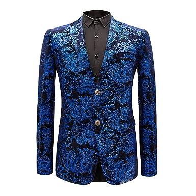 1593c6df4d5 Men s Dress Floral Suit Notched Lapel Slim Fit Stylish Blazer at ...
