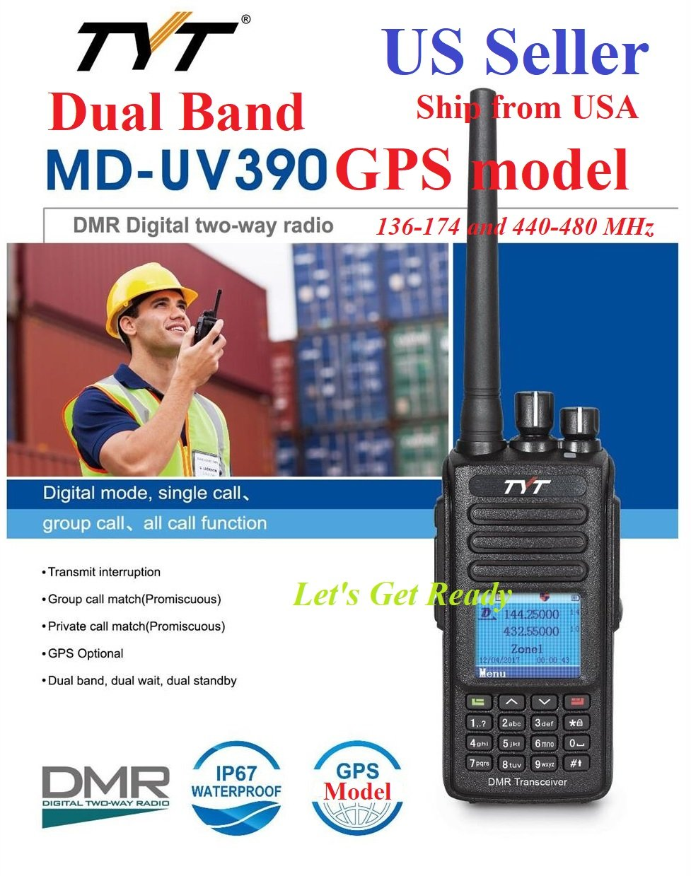 Amazon.com: TYT MD-UV390 GPS IP67 Version Dual Band 136-174 & 400-480 MHz DMR Digital/Analog Radio: Car Electronics