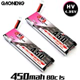 2pcs GNB 450mAh 1S HV 3.8V LiPo Battery 80C JST-PH 2.0 PowerWhoop mCPX Connector for Inductrix FPV Plus Kingkong Tiny 7 Beta75S Micro FPV Racing Drone etc