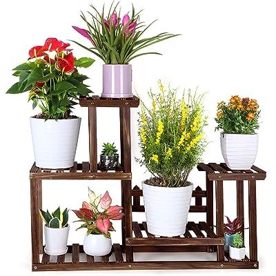 Foldify Pine Wood Plant Stand Indoor Outdoor Multiple Flower Pot Holder Shelf Rack Higher and Lower Planter Display Shelving Unit in Garden Balcony Patio Living Room(7-9 Flowerpots) : Garden & Outdoor