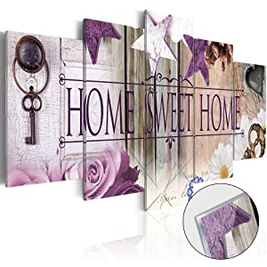 """AWLXPHY Decor Home Sweet Home Canvas Wall Art Purple Painting 5 Panels Framed for Living Room Decoration Modern Still Life Love Stretched Artwork Giclee Wedding Gift (40"""" Wx20 H)"""