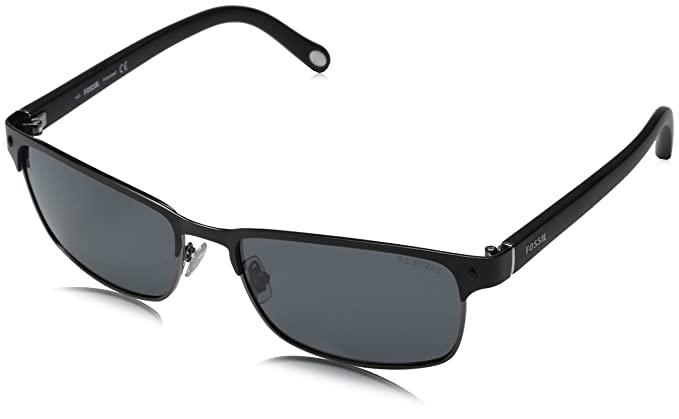 Fossil fos3000ps rectangular gafas de sol polarizadas, negro ...