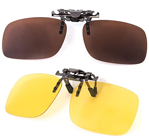 759685f83faf3 GREAT PICK Clip on Polarized Sunglasses Plus Night Vision Flip up Anti  reflective Anti Glare UV