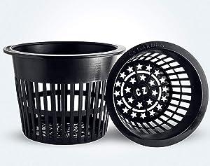 6 inch Net Pots Heavy Duty Round Cups Wide Rim Design - Orchids • Aquaponics • Aquaculture • Hydroponics Slotted Mesh (Cz All Star 20 Black Pots)