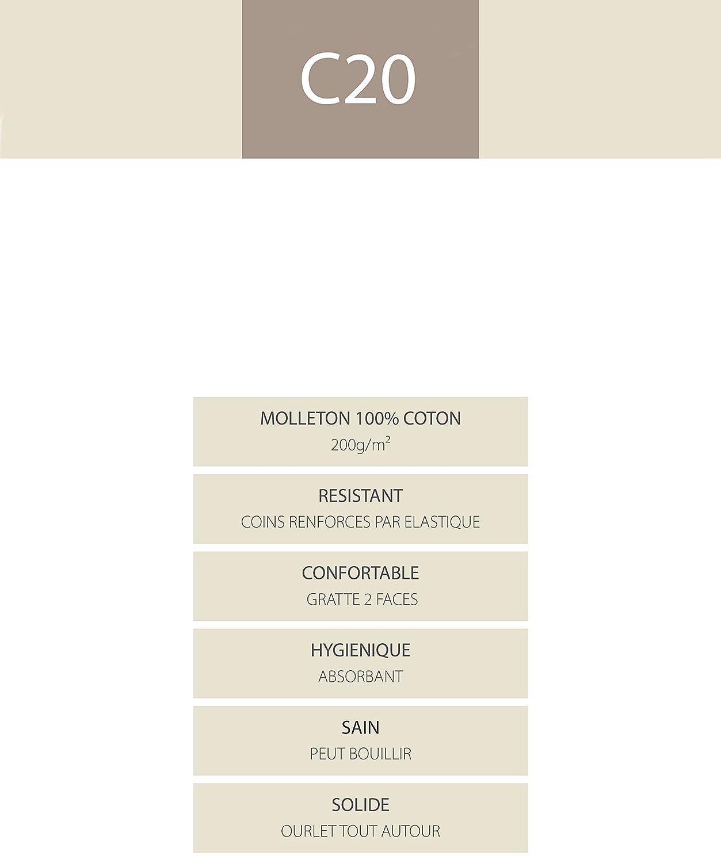 70x190 cm Blanc Blanc des Vosges Molleton 220gr//m/² Al/èze Housse Coton