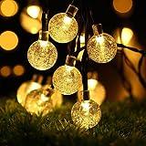 Guirlande lumineuse solaire, Ubegood 30 LED Lampe Solaire, Chaine de lampes Waterproof Extérieure en Forme Sphère pour Jardin, terrasse, Fête de Noël, mariage (Blanc Chaud)