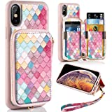 ZVE Case Apple iPhone Xs iPhone X, 5.8 inch, Zipper Wallet Case Leather Shockproof Cover Credit Card Holder Slot Handbag Purse Print Case Apple iPhone Xs X - Mermaid Wall