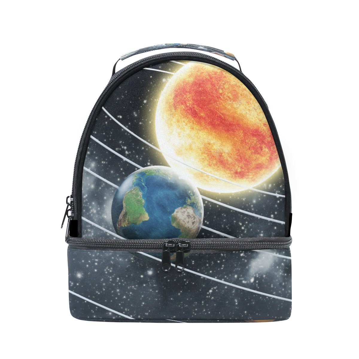 ALIREA Solar System Lunch Bag Dual Deck Insulated Lunch Cooler Tote Bag Adjustable Strap Handle for Women Men Teens Boys Girls