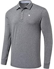 MoFiz Men's Golf Shirts Quick Dry Long Sleeve Polo Shirts Athletic Casual T-Shirt