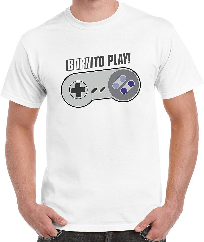 Flowlot Born to Play Geek Gamer Slogan T Shirt Homme Blanc