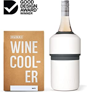 Huski Wine Cooler | Premium Iceless Wine Chiller | Keeps Wine Cold up to 6 Hours | Award Winning Design | New Wine Accessory | Fits Some Champagne Bottles | Perfect Gift for Wine Lovers (White)