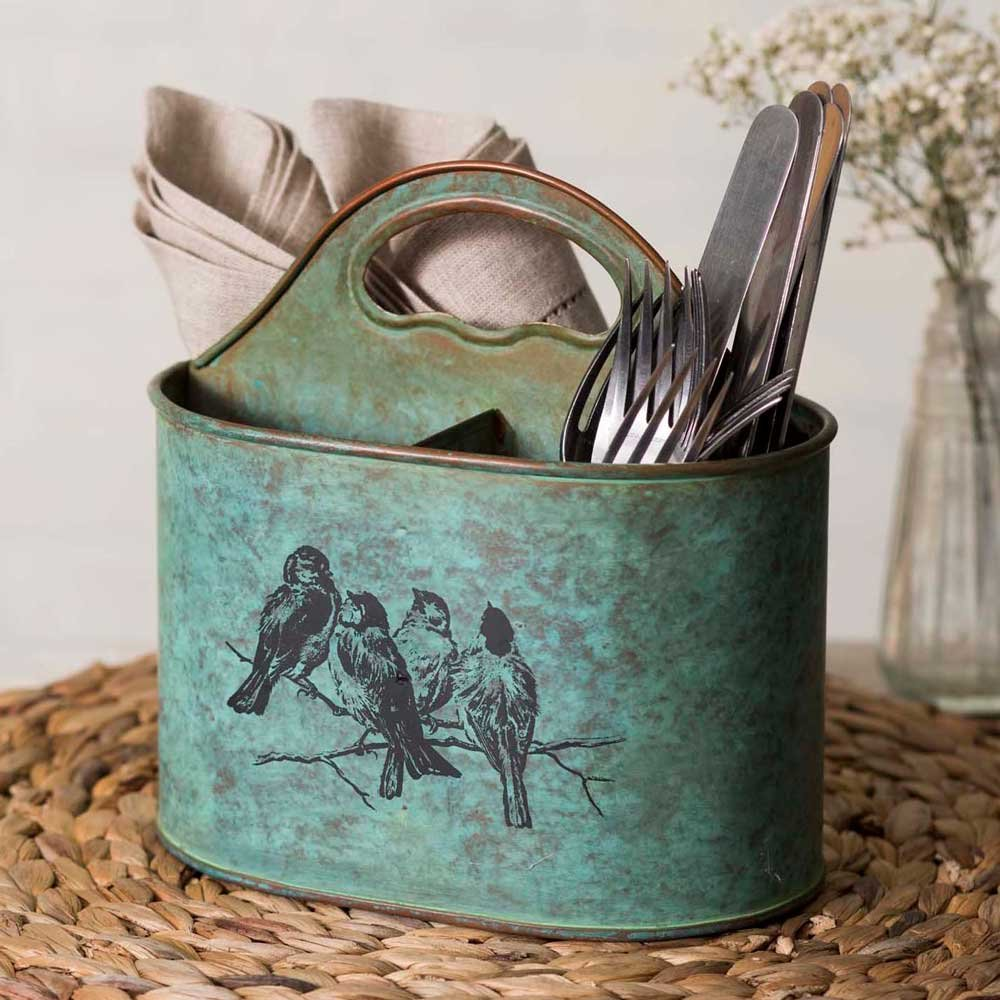 Colonial Tin Works Songbirds Metal Divided Kitchen Caddy green CTW Home Collection
