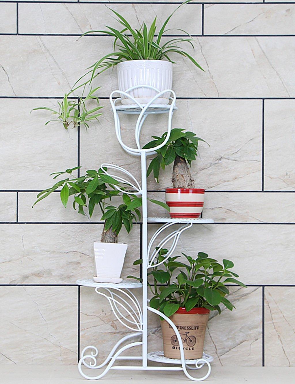 LB huajia ZHANWEI Eisen Multilayer Europäische Stil Balkon Wohnzimmer Boden Typ Blumentopf Regal Indoor Chlorophytum Einfache Blumenregal (Farbe : A)