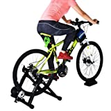 8 Levels Magnetic Resistance Indoor Bike Trainer Quiet Smooth Pedaling Bicycle Exercise Trainer Stand w Front Wheel Block and Quick Release Skewer