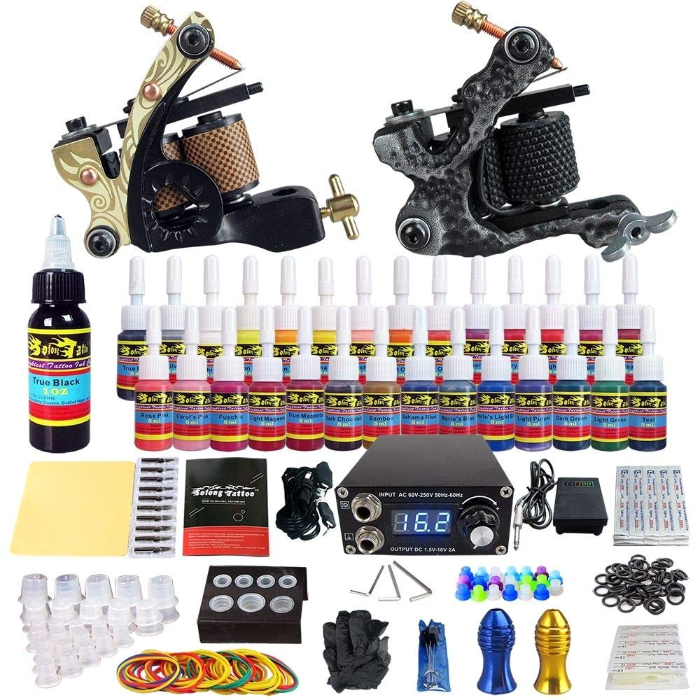 Solong Tattoo Complete Tattoo Kit 2 Pro Machine Guns 28 Inks Power Supply Foot Pedal Needles Grips Tips TK222 by Solong Tattoo