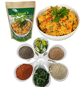 Chef Lilian's Egusi Kit- Nigerian West African Food Kit with Ground Melon Seeds (Egusi), Freeze Dried Spinach, Seasoning Cubes, Hot Chili Powder, Soup Mix 4 Servings (Pack of 1)