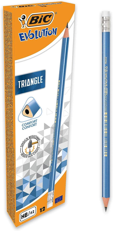 BIC Evolution Triangle - Lápices de papel triangulares con goma integrada, 12 unidades