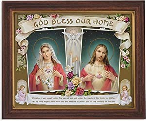 Gerffert Collection Sacred Hearts God Bless Our Home Framed House Blessings Print, 13 Inch (Wood Tone Finish Frame)