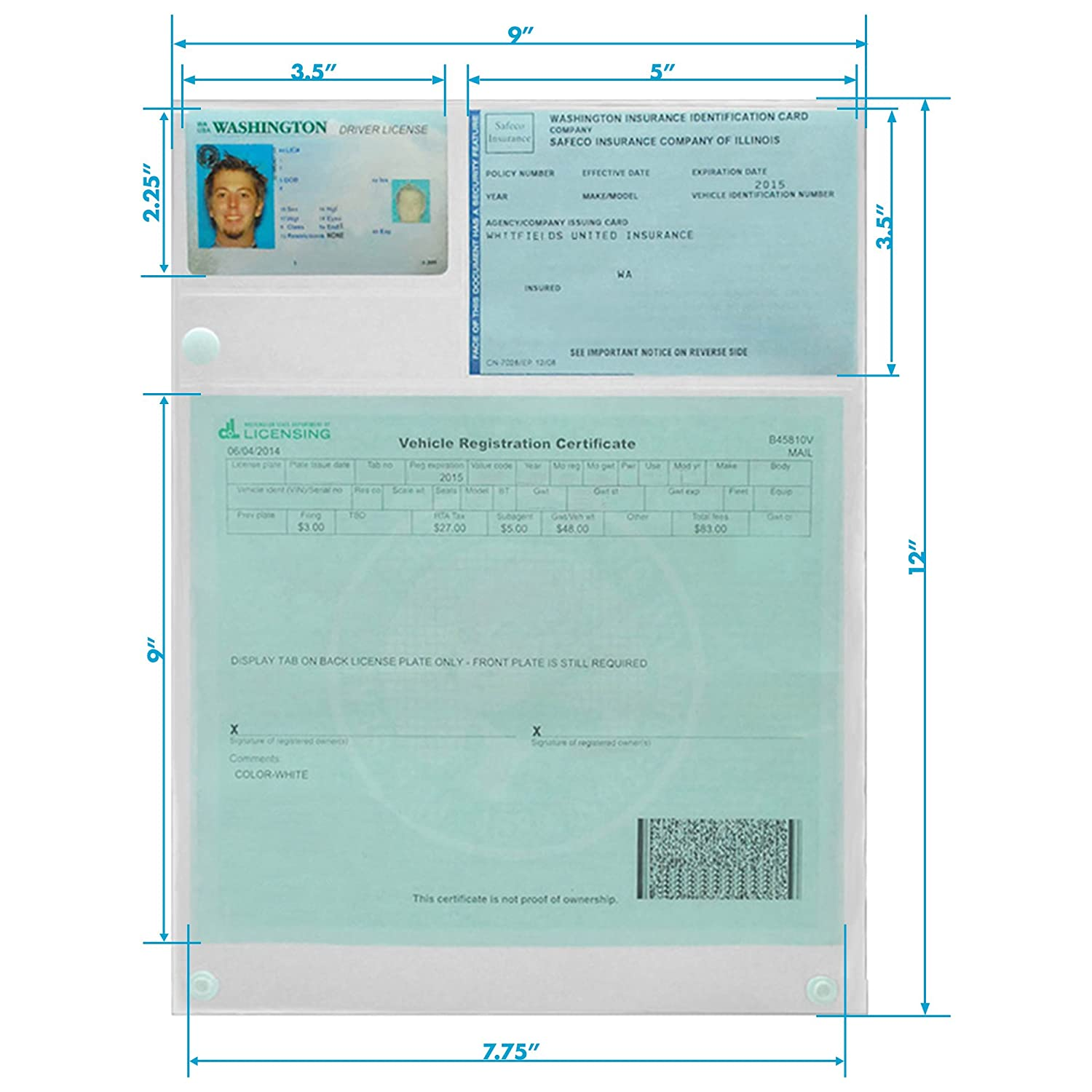 in the USA Clear Waterproof Insurance and Registration Holder Pullover Protector Glovebox Document Holder for Traffic Stops folds down to 4 x 9 strong snaps Made the hard way Fleet Supply.