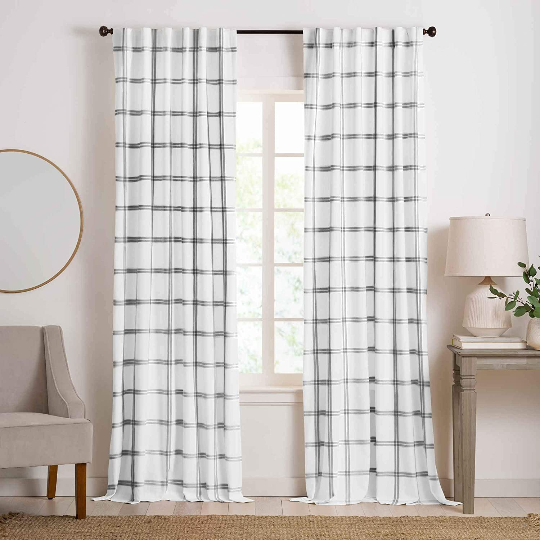 Elrene Home Fashions Farmhouse Double Windowpane Plaid Window Curtain Panel for Living, Bedroom, Dining Room, 52