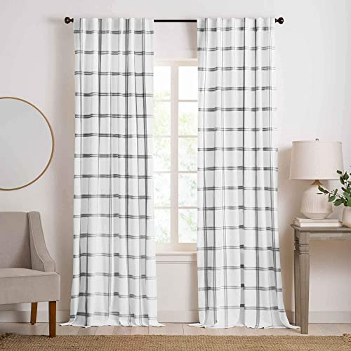Elrene Home Fashions Farmhouse Double Windowpane Plaid Window Curtain Panel