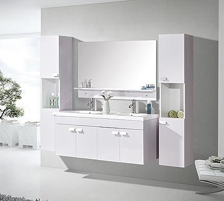 mobile bagno arredo bagno completo 120 cm lavabo 2 rubinetti mod ... - Arredo Bagno 2 Lavabi