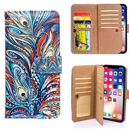 Bfun Packing Iphone Xr Case Bcov Colorful Peacock Feather Multifunction Wallet Leather Cover Case For Iphone Xr