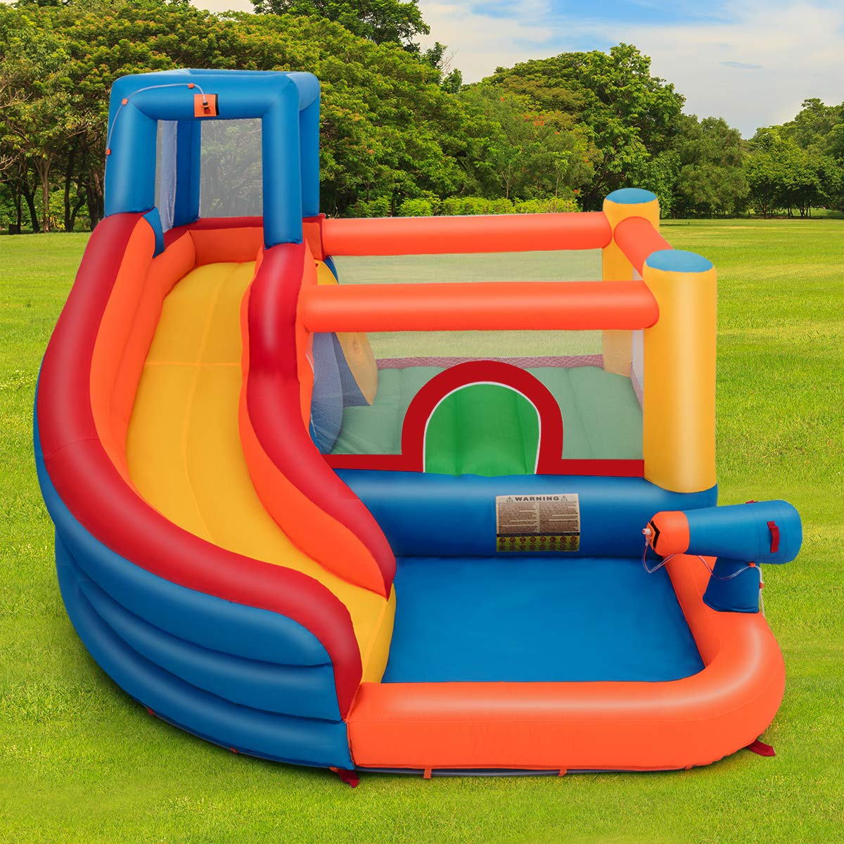 Costzon Inflatable Bounce House, 5-in-1 Water Slide w/ Climbing Wall, Jumping Area, Splash Pool, Water Cannon, Including Oxford Carry Bag, Repairing Kit, Stakes, Hose, Without Blower by Costzon (Image #8)
