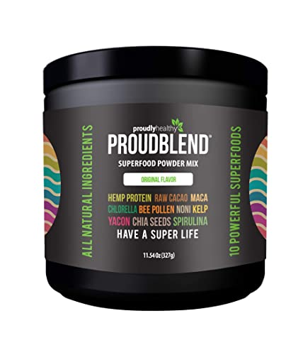 Proudly Healthy – ProudBlend Organic Superfood Powder – 10 Super Food Ingredients – Strong Immune System – Including Chlorella and Spirulina – Large 22g serving Original Flavor