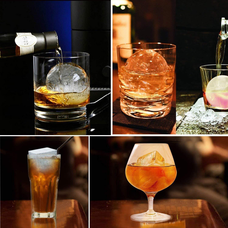 Bevande Sfera Rotonda per Palline di Ghiaccio e Grande Stampo per Cubetti di Ghiaccio per Raffreddare Whisky Borbonico LUUFAN 2 Pack Riutilizzabili Vassoi per Cubetti di Ghiaccio in Silicone