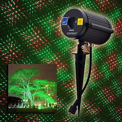 basecontrol Outdoor Waterproof Laser Garden Tree Lawn Spot Light Projector Twinkling Christmas Shooting Stars Red and Green: Garden & Outdoor