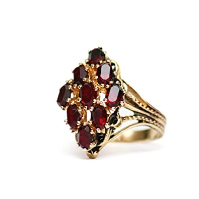 5f57fa7df Image Unavailable. Image not available for. Color: Providence Vintage  Jewelry Ruby Swarovski Crystal 18k Gold Plated Cocktail Ring