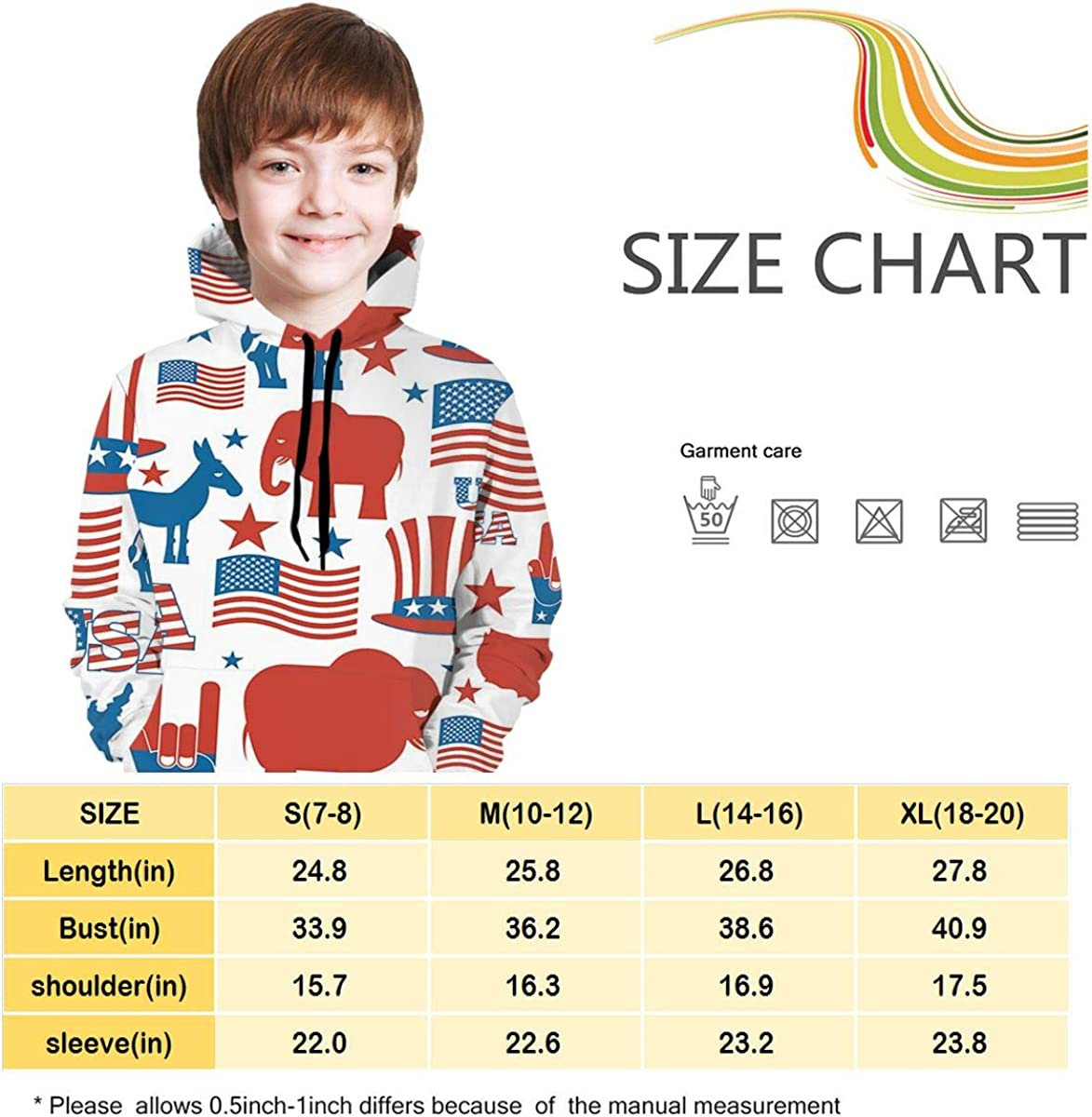 NTQFY Hooded Sweater for Boys Girls Elephant Hat of America Flag Warm Coat Soft Pullover Hoodie Sweatshirt