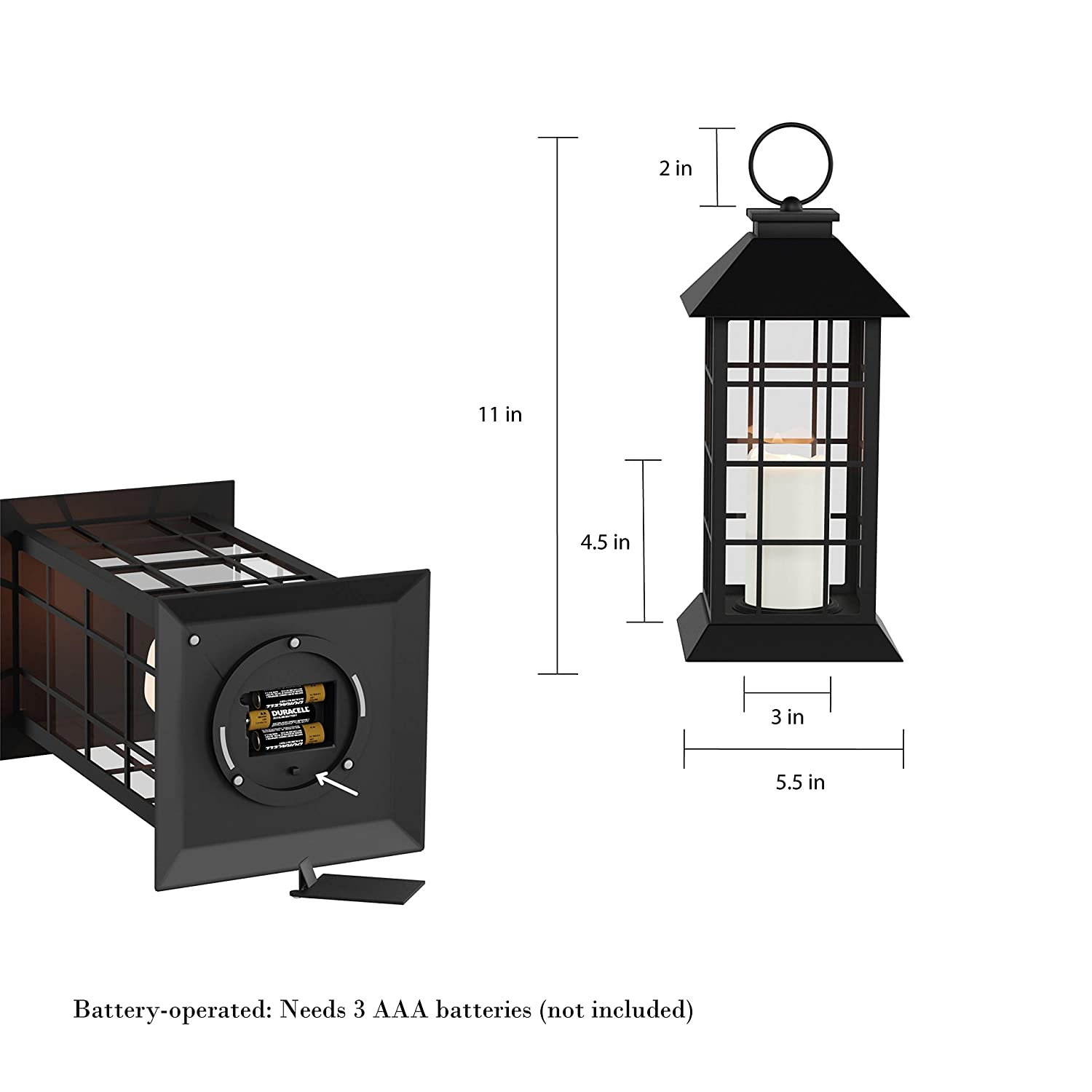 Lavish Home Decorative Lantern with Vintage Grid Design-Color Changing Flameless LED Pillar Candle and Remote Control with Timer