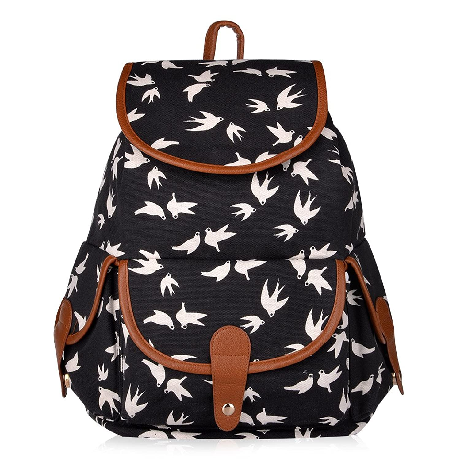 f4c3ad7b96a2 Vbiger Canvas Backpack for Women   Girls Boys Casual Book Bag Sports  Daypack (Birds)