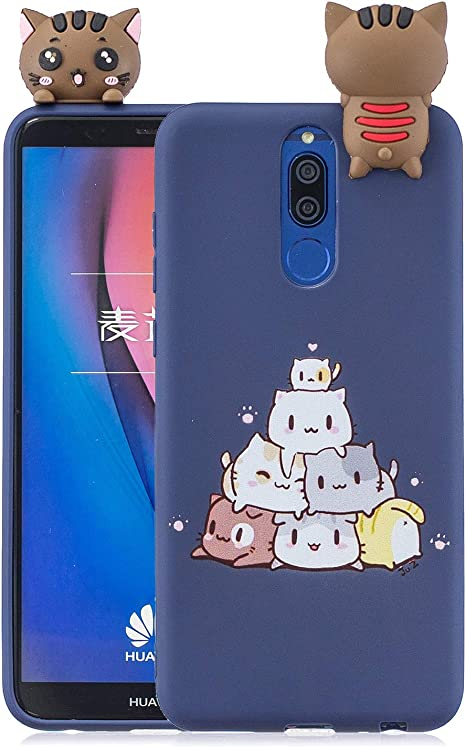 Funluna Funda Huawei Mate 10 Lite, 3D Gato Patrón Ultra Delgado ...